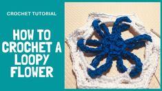 How To Crochet Loopy Flower Motif - 3D Crochet Flower Crochet Tutorials, Crochet Patterns, Crochet Flowers, Crochet Hooks, Community, 3d, Board, Summer, Crochet