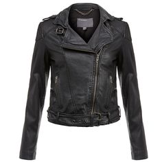 Muubaa Asha Black Leather Biker (7.520 UYU) ❤ liked on Polyvore featuring outerwear, jackets, black, zipper leather jacket, zip jacket, real leather jacket, distressed leather jacket and collar jacket