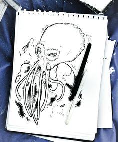 Octopus illustration (comic strip or potential tattoo design) by SemiSkimmedMin.