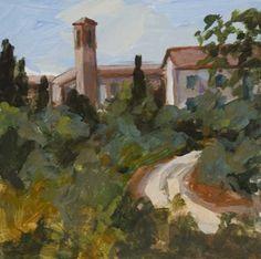 Tuscan View Acrylic 6 x 6 Italian Impressionistic Landscape -- John K. Harrell