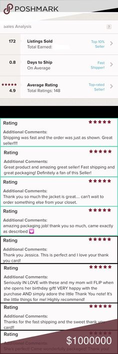 Shop with Confidence!✨I'm a Suggested User!❤️🎉 I absolutely love selling on Posh! The community is awesome and my customers are fabulous!!! Nothing makes me happier than a satisfied customer! I always do my best to ship purchases same day. I believe if you're paying a decent amount for shipping you should get your purchase ASAP. I am a Suggested User and a top rated seller!😁I want to give you the best shopping experience possible, so if you have questions please ask. Thanks for stopping by…