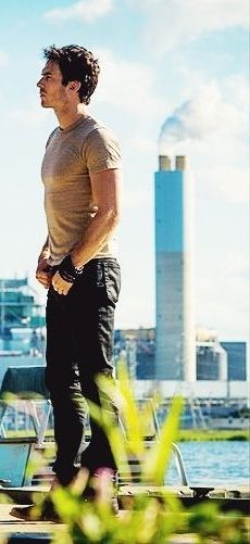Ian Somerhalder for Years of Living Dangerously discussing the coal plant behind him