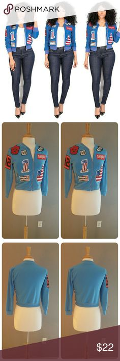 FINAL PRICE. AMERICAN PATCHES CROP JACKET 100 BNWOT. GOOD CONDITION. SOLID COLOR baby blue. With American patches in front and one patch on sleeve. Silver zipper. 100 polyester. Thin. UNDER armpit/armpit 36 inches. Sleeves 18 inches. Shoulders 14 inches. Cuff 4 inches. Waist 30 inches. Length top shoulders/ bottom jacket 16 1/2 inches. This is an Asian item which tends to run small Asian medium /us size 6. Suggested ordering one size larger. Please measure yourself carefully before buying…