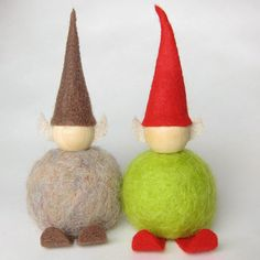 * Felt Elf by katbaro, via Flickr.  Use 'Sheep-ish' yarn (or wool roving) to felt a Styrofoam ball for the body. Use a wood bead for the head, and bits of felt for the ears, feet and hat.