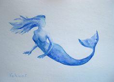 Mermaid  Watercolor on Paper 9x12 Nursery Decor by FluidDiamondArt, $29.00