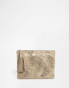 Image 1 ofBecksondergaard Leather Zip Top Clutch Bag In Star Print