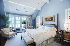 Howie Mandel's Cape Cod-Style Home For Sale in Malibu bedroom Cape Cod Bedroom, Blue Master Bedroom, Large Bedroom, White Bedroom, Periwinkle Bedroom, Blue Bedrooms, Pretty Bedroom, Master Bedrooms, Master Suite