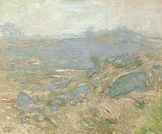 """""""Upland Pastures (Greenwich, Connecticut),"""" John Henry Twachtman, ca. 1890s, oil on canvas, 25 x 30"""", private collection."""