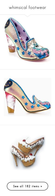 """""""whimsical footwear"""" by softmeat ❤ liked on Polyvore featuring shoes, blue shoes, star shoes, irregular choice footwear, iridescent shoes, yellow gold shoes, pumps, gold pumps, irregular choice and irregular choice shoes"""