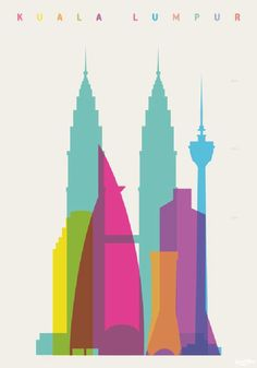 Shapes of Cities. A series of graphic art prints by London-based artist and graphic designer Yoni Alter. Each print of the series features the shapes of a Kuala Lumpur, City Art, Tour Eiffel, Graphic Art, Graphic Design, Scale Art, Art Graphique, Oeuvre D'art, Travel Posters