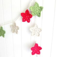Christmas Stars Crochet garland, Crochet Christmas Star for 2015 Christmas - LoveItSoMuch.com