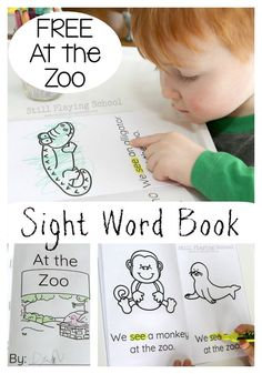 Free At the Zoo printable sight word book for emergent readers