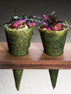 Ainda de Avillez, destaque para estes cornettos temaki de atum, um dos best-sellers de outro dos restaurantes do chef, o Mini-Bar. (Paulo Barata / Guerrilla Food Phot)