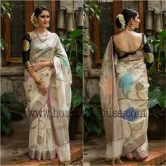 White with black brocade blouse  Classic Indian Sari  CLICK Visit link above for more info #modernsari #classysarees
