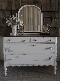 White distressed antique dresser with mirror-- front entry way Shabby Chic Bedrooms, Decor, Shabby Chic Dresser, Rustic Furniture, Furniture Makeover, Refurbished Furniture, Furniture, Shabby Chic Furniture, Chic Furniture