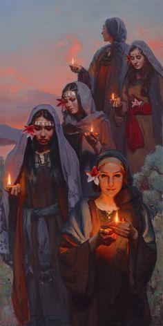'Five Were Wise' — Michael Malm Fine Art - oil on board Bible Pictures, Jesus Pictures, Lds Art, Bible Art, Jesus Art, Bride Of Christ, Prophetic Art, Biblical Art, Bible Stories