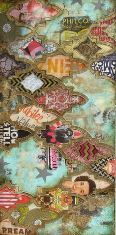jill ricci - mixed media on canvas Mixed Media Collage, Collage Art, Moroccan Art, Texture Art, Medium Art, Islamic Art, Illustrations, Painting Inspiration, Collage