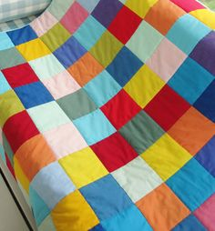 Quilt patchwork kids multicolor colorful modern by poppyshome