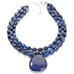 "Jay King 3-Strand Blue Infinity Stone 18"" Necklace"