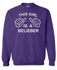 This Girl Is A Belieber Justin Bieber Funny Sweatshirt x Crewneck x Jumper x Sweater. $25.00, via Etsy.