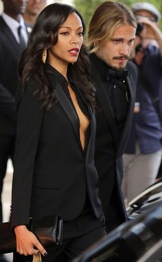 Zoe Saldana and husband twinning in black suits