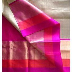 SC210021-VARNAM Handwoven Korvai Silkcottonwith silk borders-Beige pink, 700g