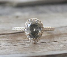 Pear Cut Slate Gray Diamond Halo Engagement Ring in by Studio1040