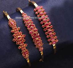 Jewellery Designs: Ruby Bangle Type Bracelets