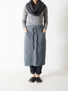 Grey organic linen apron skirt, very put-together