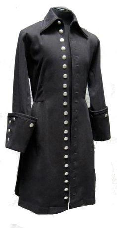 Shrine Black Velvet VICTORIAN MOURNING Mens goth Gothic Pirate coat jacket L | eBay