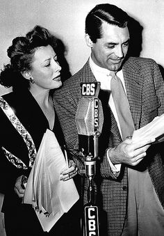 Irene Dunne and Cary Grant during the radio production of Theodora Goes Wild, 1943