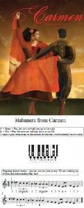 Habanera - This is a very easy arrangement of Habanera from the opera Carmen by Bizet. I use it to teach triplets. http://mypianosmiles.com/2013/05/habanera-from-bizets-carmen-beginner-sheet-music/