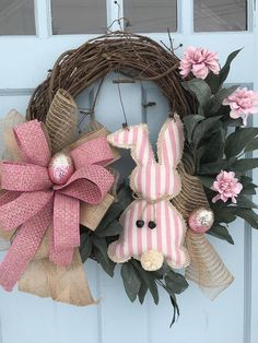 Super Cute /& Whimsical Easter Spring Burlap Holiday Wreath with Sparkle