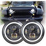 7Inch Black LED Daymaker Headlight with White Halo/Amber Turn Signal for Jeep Wrangler JK LJ TJ CJ HUMMER H1 H2 Land Rover Defender Hummer H1, Jeep Wrangler Jk, Land Rover Defender, Halo, Antique Cars, Amber, Led, Black, Vintage Cars