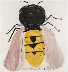 "atelierentomologica: "" Rose Wylie, The Wasp, watercolour on paper, 2014 "" Rose Wylie, Pop Art, Insect Art, Abstract Painters, Abstract Art, Royal College Of Art, Naive Art, Fish Art, Outsider Art"