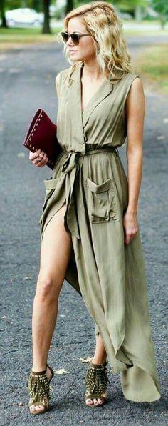summer outfits  Khaki Maxi Dress