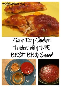 For a healthier game day option instead of wings, choose these delicious chicken tenders with the BEST homemade BBQ sauce!  They will melt in your mouth!