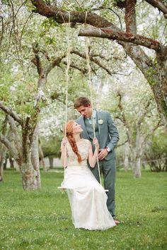 Romantic wedding photography. Cute wedding ideas, unique wedding dress. Love that hair. Makeup for red heads. Modest wedding dress. Utah wedding photography. Pretty nature wedding photos. Bridal photography.