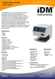 #IDM #DModel0011 #DigitalMicrometer #AS1301.426s #BS7387 #ISO534:1988 #TAPPIT411 #ASTMD645 #ISO3034  #FEFCONo.3 #SCANP31