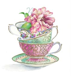 Vintage Tea Cup Stack