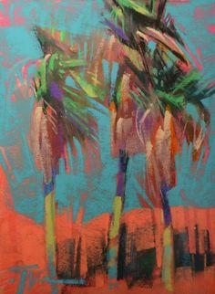 "Jen Evenhus, ""Arroyo Drive Palms,"" pastel on UArt paper, 8 x 6 in"