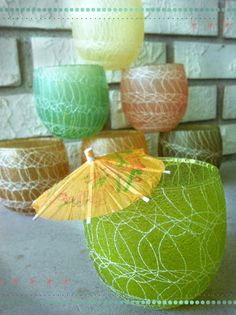 Spaghetti Tumblers! Color Craft Shatter Proof. Vintage bar!