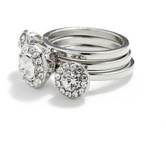GUESS Ariel Silver-Tone Stackable Ring Set ($18) ❤ liked on Polyvore featuring jewelry, rings, silver, pave ring, rhinestone jewelry, rhinestone rings, silvertone jewelry and silver tone jewelry