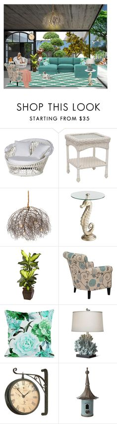 """A Touch Of Paradise At Home"" by lady-rebecca-lyn ❤ liked on Polyvore featuring interior, interiors, interior design, home, home decor, interior decorating, Pier 1 Imports, Nearly Natural, One Bella Casa and Basset Mirror Company"