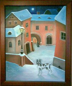 : Lithograph, cm, signed lower right Iva Hüttnerová Socialist Realism, Central Europe, Whimsical Art, Naive, Art Google, Folk Art, Jigsaw Puzzles, Illustration Art, Prague