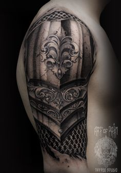 Armor Sleeve Tattoo, Armor Of God Tattoo, Armour Tattoo, Shoulder Armor Tattoo, Full Sleeve Tattoos, Schulterpanzer Tattoo, Arm Band Tattoo, Body Art Tattoos, Hand Tattoos