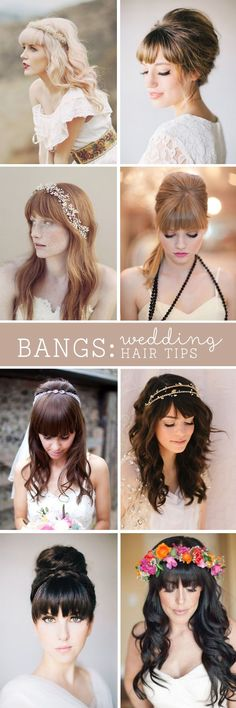 read tips for wedding hairstyles with full fringe (bangs)! Check out these professional hair dresser tips on wedding hair styles with full bangs!Check out these professional hair dresser tips on wedding hair styles with full bangs! Wedding Hair Tips, Wedding Hairstyles For Long Hair, Wedding Hair And Makeup, Hairstyles With Bangs, Wedding Updo, Trendy Hairstyles, Wedding Hair Bangs, Bridal Hairstyles, Hair Makeup