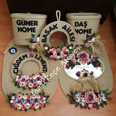 This Pin was discovered by Bey Homemade Gifts, Diy Gifts, Crafts To Sell, Diy And Crafts, Bride And Groom Glasses, Rope Art, Jute Crafts, Pintura Country, Wedding Ring Box