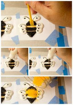 Adorable Bee Royal Icing Transfers by thebearfootbaker.com