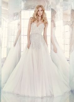 <p>Comet</p><p>Orchid tulle modified A-line bridal gown, rhinestone-encrusted beadwork throughout with alabaster and hologram accent, sweetheart neckline and beaded straps, full skirt with tulle godets. </p> Bridal Gowns, Wedding Dresses by Hayley Paige Bridal - JLM Couture - Bridal Style HP6608 by JLM Couture, Inc.